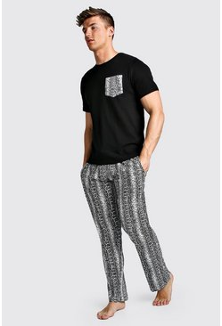 Mens Black Snake Pant Lounge Set