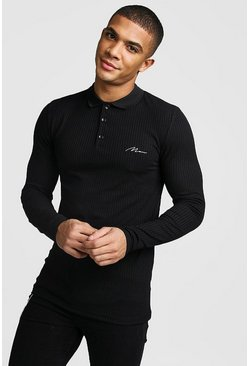Mens Black Muscle Fit MAN Signature Long Sleeve Ribbed Polo