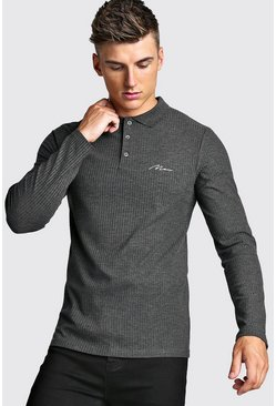 Mens Charcoal Muscle Fit MAN Signature Long Sleeve Ribbed Polo
