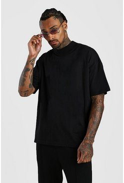 Black Oversized T-Shirt With Extended Neck