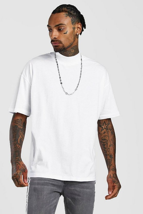 White Oversized T-Shirt With Extended Neck