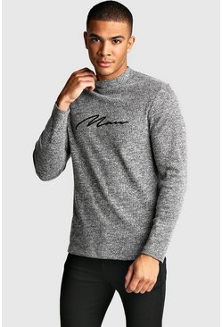 Mens Grey marl Muscle Fit MAN Signature Turtle Neck LS Tee