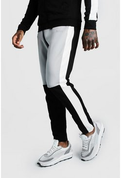 Mens Grey Skinny Man Colour Block Poly Jogger