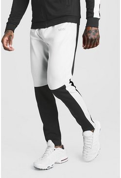 Mens White Skinny Man Colour Block Poly Jogger