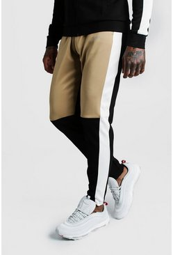 Mens Sand Skinny Man Colour Block Poly Jogger