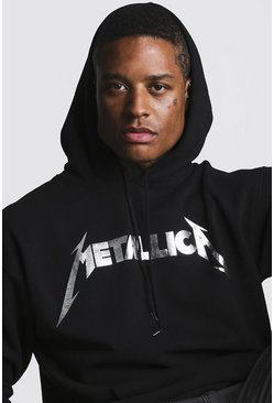 Mens Black Metallica Foil Print License Hoodie