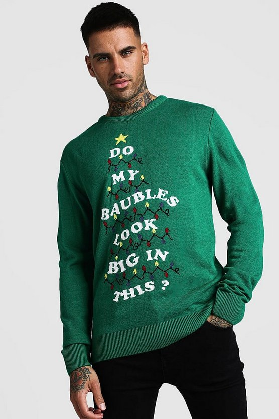 Mens Green Slogan Christmas Jumper