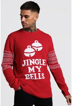 Mens Red Jingle My Bells Slogan Christmas Jumper