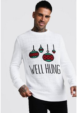 White Well Hung Christmas Jumper