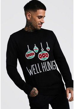 Mens Black Well Hung Christmas Jumper