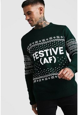 Mens Green Festive AF Fairisle Christmas Jumper