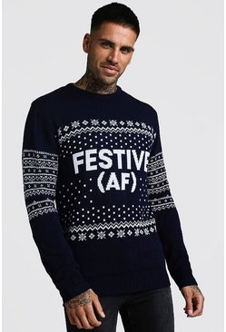 Mens Navy Festive AF Fairisle Christmas Jumper