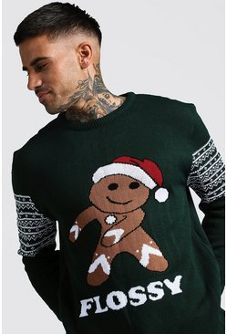 Mens Green Flossy Christmas Jumper