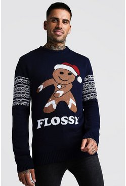 Mens Navy Flossy Christmas Jumper
