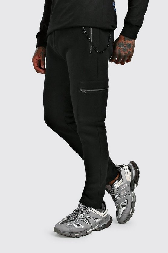 Mens Black Cargo Jogger With Chain Detail