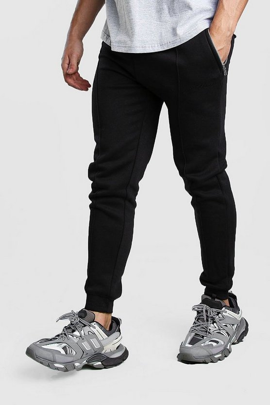 Black MAN Signature Jersey Pintuck Joggers