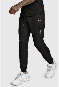 Mens Black Original MAN Cargo Jogger With Zips