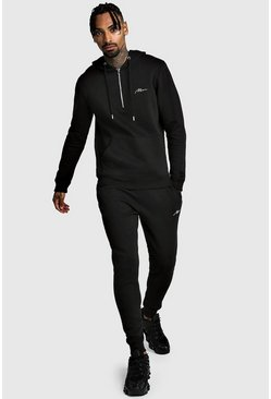 Mens Black MAN Signature Half Zip Hooded Tracksuit