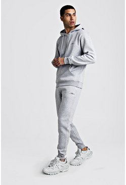 Mens Grey marl MAN Signature Half Zip Hooded Tracksuit