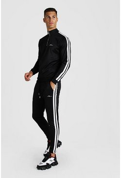 Mens Black Tricot MAN Signature Half Zip Funnel Tape Tracksuit