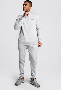 Mens Grey marl MAN Signature Half Zip Tracksuit