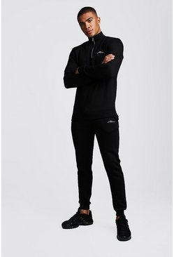 Black MAN Signature Half Zip Tracksuit