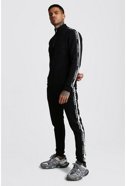 Mens Black Half Zip Funnel Neck With MAN Tape