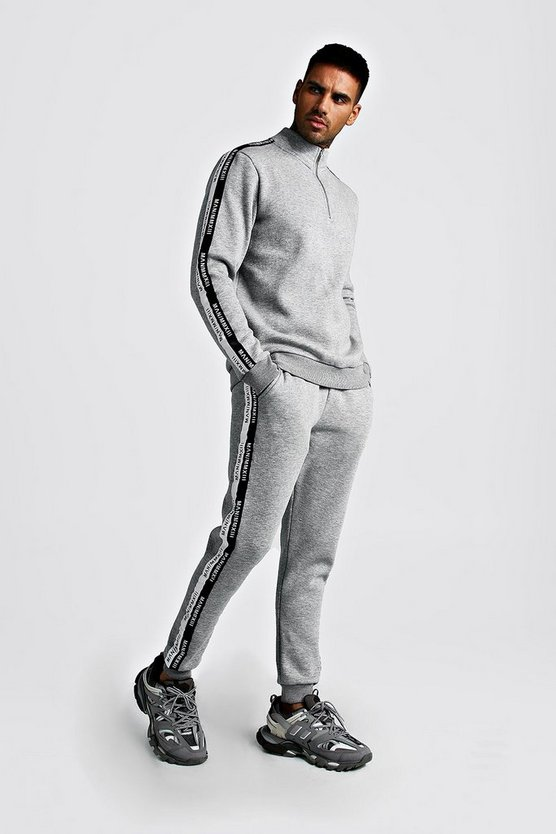 Mens Grey Half Zip Funnel Neck Tracksuit With MAN Tape