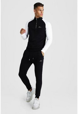 Black MAN Signature Half Zip Contrast Sleeves Tracksuit