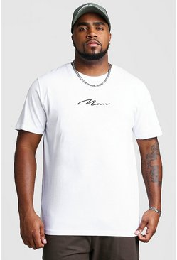 White Big And Tall MAN Script T-Shirt