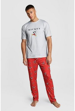 Mens Red Disney Mickey Lounge Set