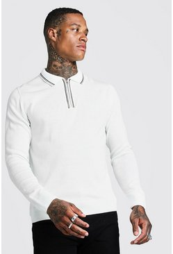 Mens Cream Long Sleeve Half Zip Knitted Polo With Tipping