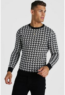 Mens Black Muscle Fit Houndstooth Knitted Jumper
