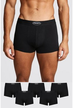 Mens Black 5 Pack MAN Oval Trunk