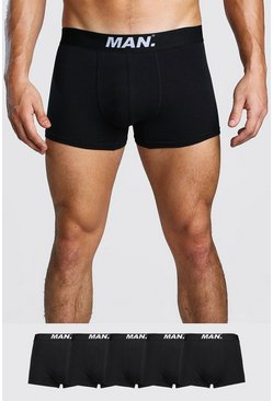 Mens Black 5 Pack MAN Dot Trunk