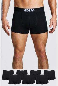 Mens Black 7 Pack MAN Dot Trunk