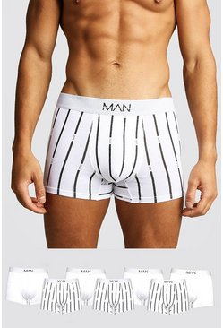 White 7 Pack MAN Stripe Trunk