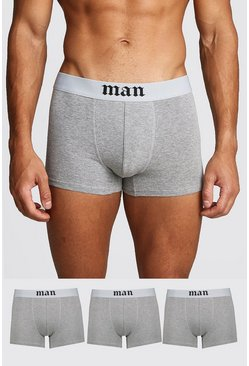 Mens Grey marl 3 Pack Gothic MAN Boxers