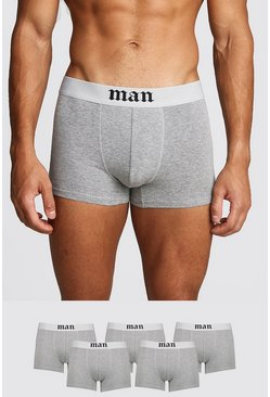 Mens Grey marl 5 Pack Gothic MAN Boxers
