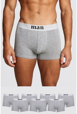 Mens Grey marl 7 Pack Gothic MAN Boxers