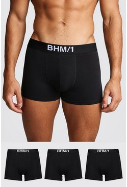 Mens Black 3 Pack BHM Trunk