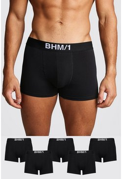 Mens Black 5 Pack BHM Trunk