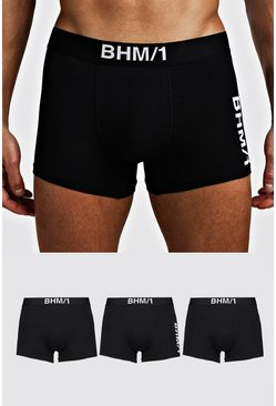 Mens Black 3 Pack BHM Mixed Trunk