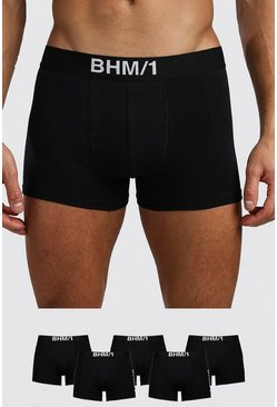 Mens Black 5 Pack BHM Mixed Trunk