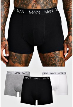 Mens Multi 3 Pack MAN Dash Mixed Mid Length Trunk