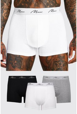 Mens Multi 3 Pack MAN Script Mixed Mid Length Trunk