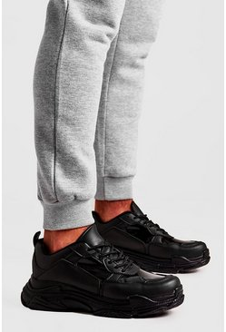 Mens Black Perspex Panel Chunky Trainer