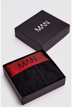 Mens Red MAN Dash Metallic Waistband Trunk Giftbox