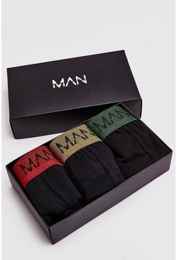 Mens Multi 3 Pack MAN Dash Mixed Metallic Waistband Gift Set