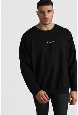 Mens Black Loose Fit Blessed Slogan Sweatshirt